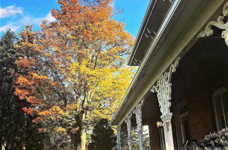 Orange and yellow Fall tree and white, ornate detail on a brick house