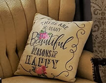Picture of a pillow on a couch. Text at the bottom says Amenities.
