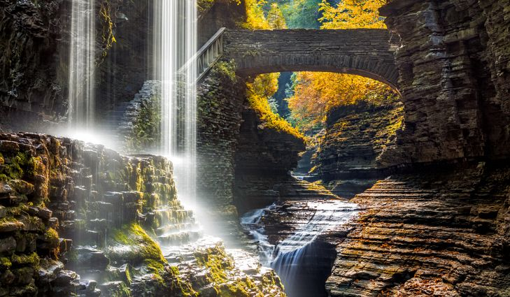 waterfall and bridge